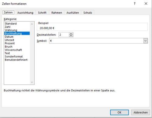In Excel Zellen formatieren