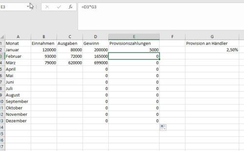 In Excel mit absoluten Zellbezügen rechnen