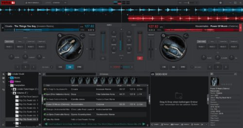VirtualDJ ist auch eine Free DJ-Software mit zwei Decks und Turntables.