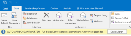 Outlook Abwesenheitsnotiz ist aktiviert