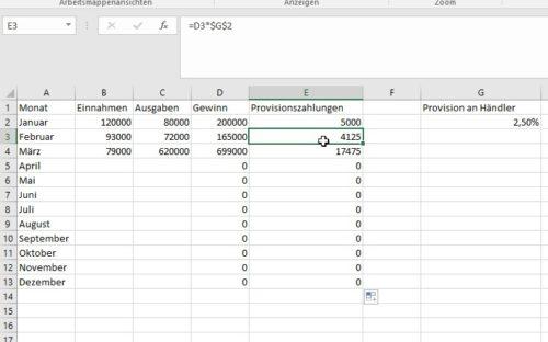 Rechnen in Excel mit absolutem Zellbezug