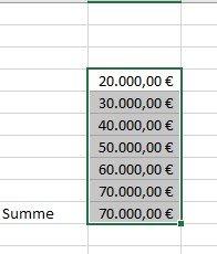 Zahlen in Excel als Währung formatiert