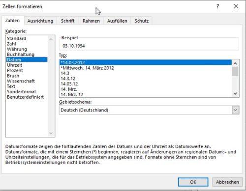 Zellen in Excel als Datum formatieren