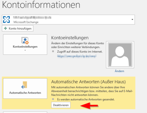 Abwesenheitsnotiz in Outlook deaktivieren