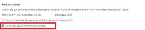 WLAN Sicherheit: SSID auf einer Fritzbox ausblenden