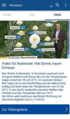 Video-Anzeige in der wetter.com App nicht ohne Werbung