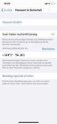 2-Faktor-Authentifizierung in den iPhone Einstellungen
