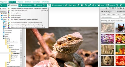 Funktionen zur Bildbearbeitung in Ashampoo Photo Commander Free