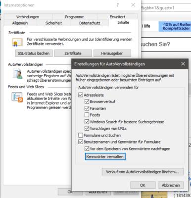 Gespeicherte Passwörter im Internet Explorer löschen