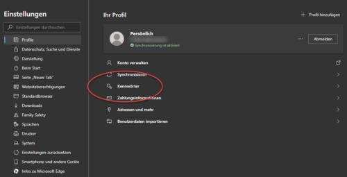 gespeicherte Passwörter löschen in Microsoft Edge