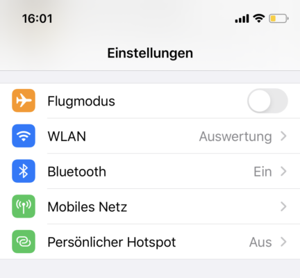 Flugmodus, WLAN, Bluetooth und mobiles Netz