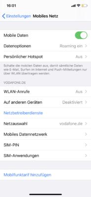 Einstellungen für Mobiles Netz
