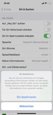 Siri lässt sich auch deaktivieren