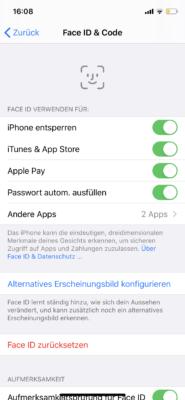 Einstellungen für Face-ID und Touch-ID