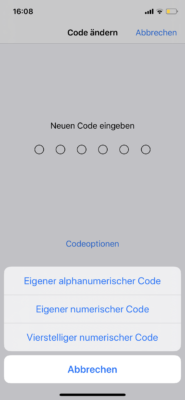 Code-Änderung in den iPhone Einstellungen