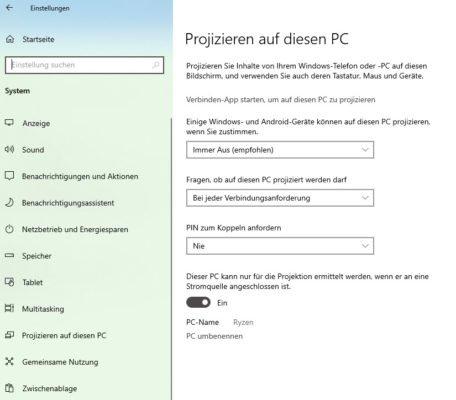Laptop als zweiten Bildschirm nutzen - Projizieren auf diesen PC aktiviert