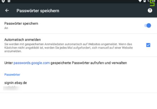 Passwörter im Google Chrome auf Android