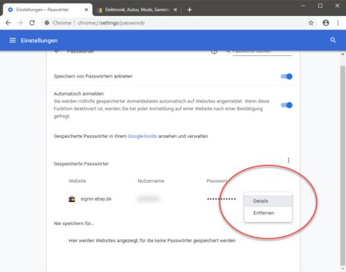 Gespeicherte Passwörter in Chrome löschen