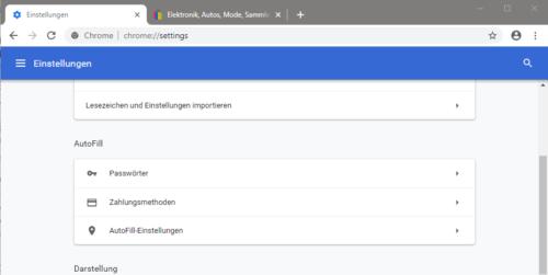 Passwortverwaltung in Chrome