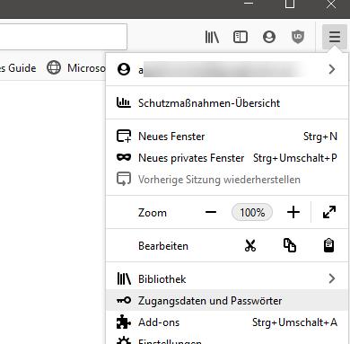 Zugangsdaten und Passwörter in Firefox