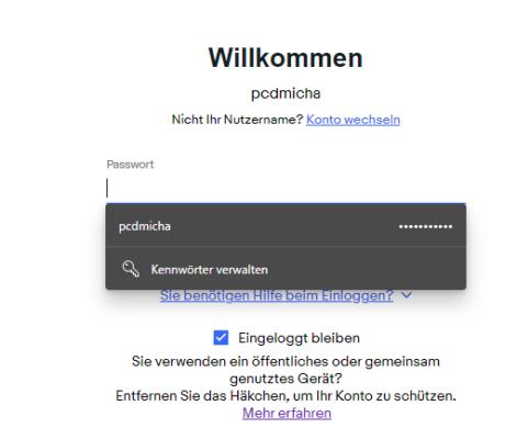 Gespeichertes Passwort in Edge unter Windows 10