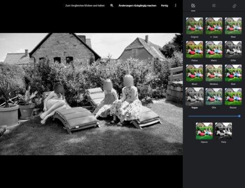 Bildbearbeitung im Browser über Google Photos