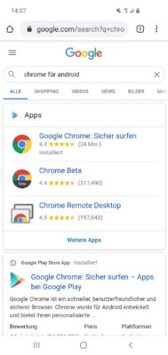 Google Chrome Browser für Android im Test