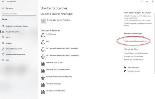 Drucker und Scanner in den Einstellungen von Windows 10