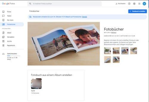 Fotobücher aus Google Photos heraus