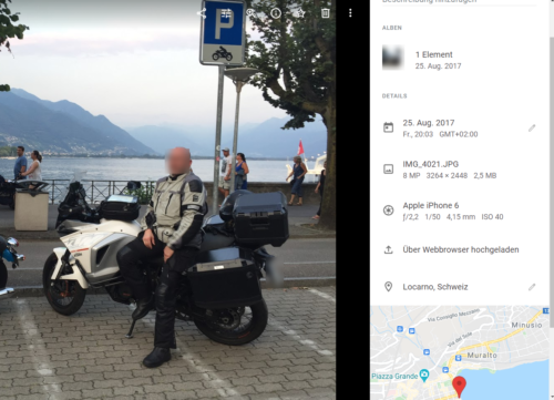 Google Photos stellt auch Geodaten dar.