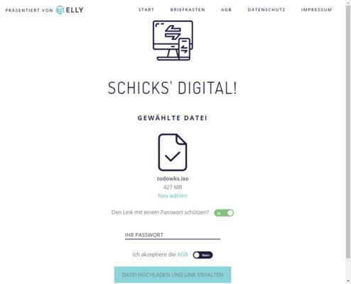 SchicksDigital bietet sich als kostenlose Lösung an wenn sie große Dateien versenden