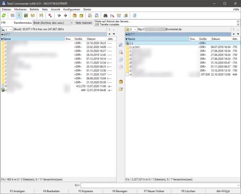 Total Commander kann auch FTP-Server ansprechen