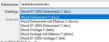 Um den Kompatibilitätsmodus in Word zu verhindern muessen Sie die Datei im neuen Format speichern