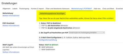 Automatische Weiterleitung für Mails direkt beim Mailprovider einrichten