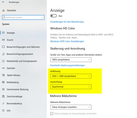 Bildschirmauflösung in Windows 10 einrichten und anpassen