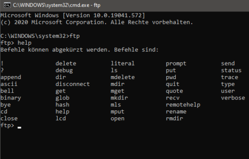 FTP über die Kommandozeile von Windows