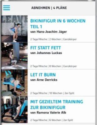 Screenshot der LOOX Fitness App