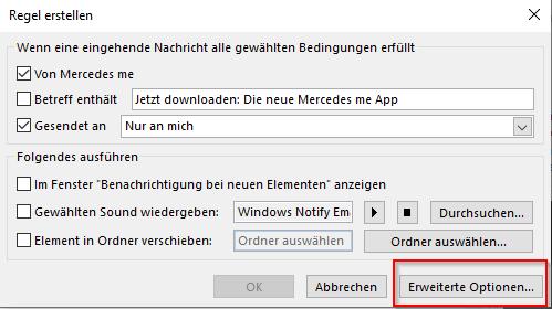 Assistent zum Erstellen einer Regel für eine Weiterleitung von Mails in Outlook.