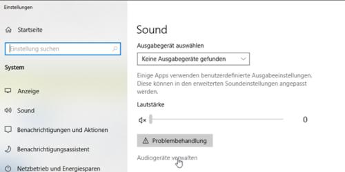 Windows 10 hat kein Sound wenn keine Ausgabegeräte gefunden werden