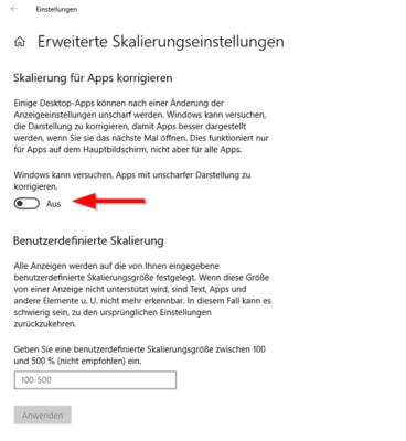 erweiterte Skalierungseinstellungen in Windows 10