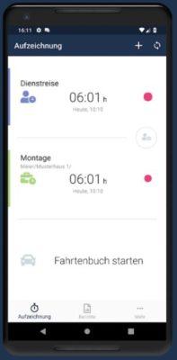 Fahrtenbuch in der Zeiterfassungs-App Timr