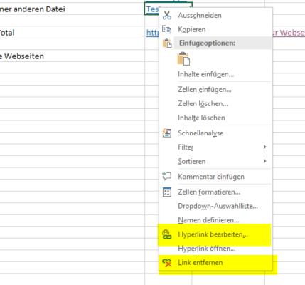 Hyeprlinks in Excel ändern oder löschen