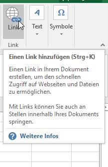 Hyperlink in Excel einfügen
