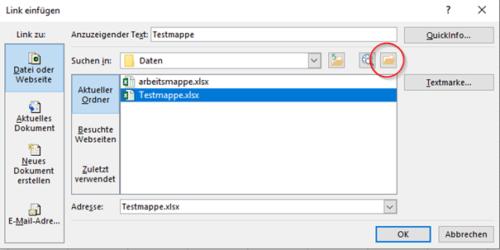 Hyperlink zu einer Datei in Excel