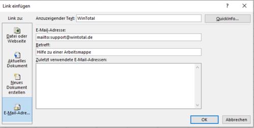 Hyperlink zu einer E-Mail-Adresse
