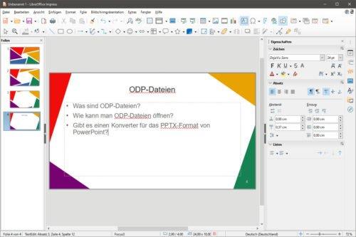 Impress öffnet und speichert ein ODP-Datei