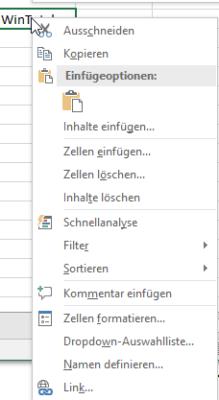 Kontextmenü in Excel zum Einfügen von Hyperlinks