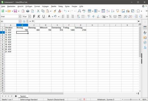 LibreOffice Calc erstellt und bearbeitet ods-dateien