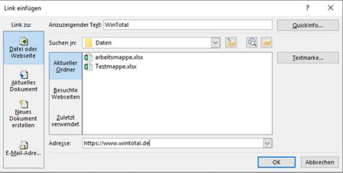 Link zu einer Webseite in Excel
