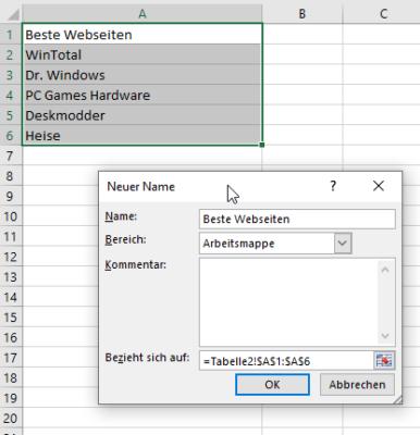 Name für Bereich in Excel festlegen